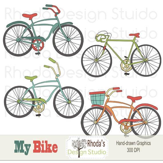 Retro Bikes Digital Clip Art Vintage Bicycles Set 1 Retro
