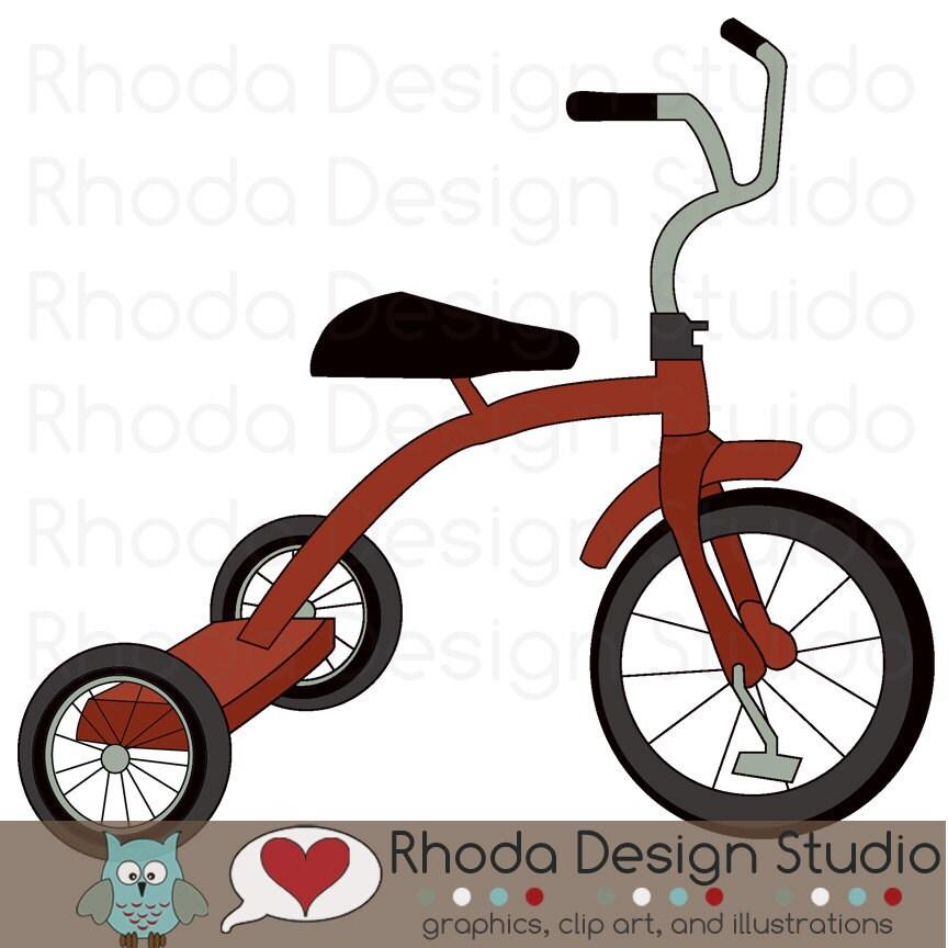 Retro Tricycle Bike Red Digital Clip Art Vintage Bicycles