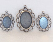 Silver Tone Oval Victorian Frame Set