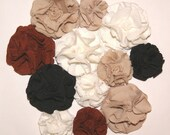 Lot of 12 Handmade T-Shirt Flowers Roses Appliques Embellishments  Neutral Colors for Scrapbooking Hair Jewelry Brown White Black Beige