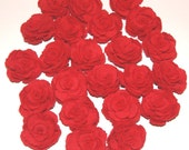 23 Red Fabric Flowers Roses Appliques Upcycled Embellishments Handmade Fabric Flowers for Head Bands Scrapbooking