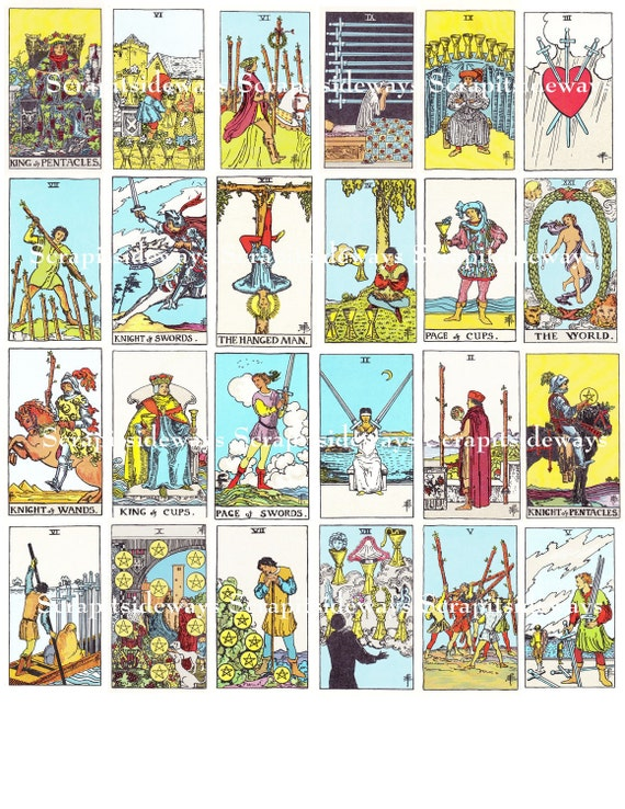 Set Of 78 Rider Waite Tarot Cards Digital Collage Sheet