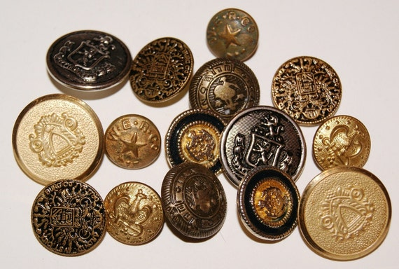 Lot of 15 Metal Coat of Arms Military Buttons Scrapbooking Steampunk