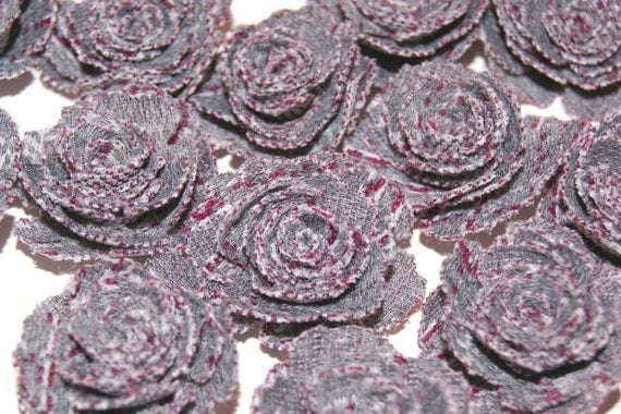 17 Fabric Flowers Roses Pink and Grey Appliques Embellishments Handmade for Hair Bands Scrapbooking