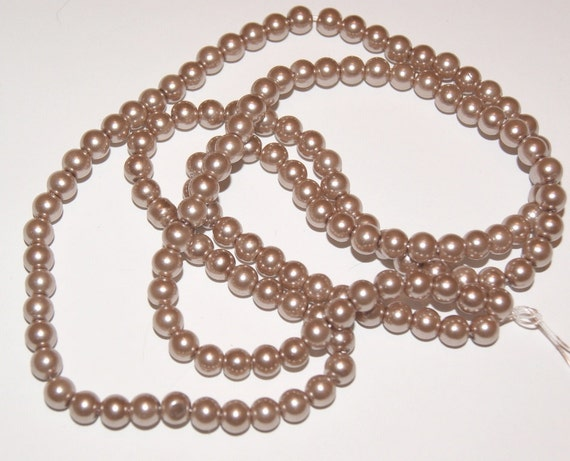142 Light Brown Glass Pearls 6mm Pearl Beads for Scrapbooking Jewelry Crafts