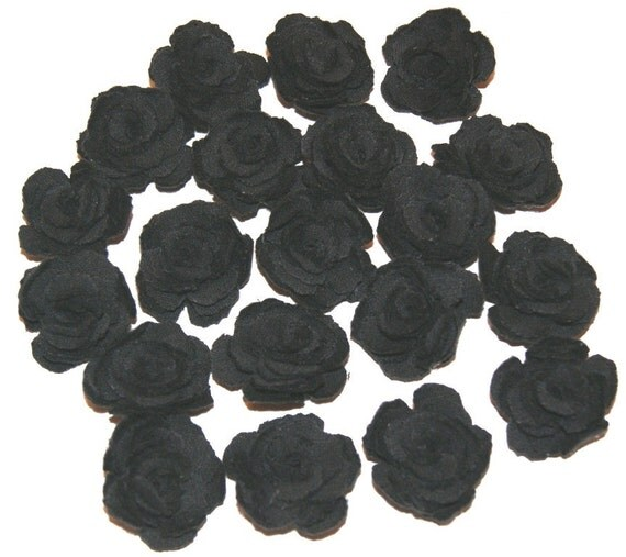 Black Fabric Roses Flowers Appliques Set of 20 Upcycled Embellishments Handmade Fabric Flowers for Head Bands Scrapbooking