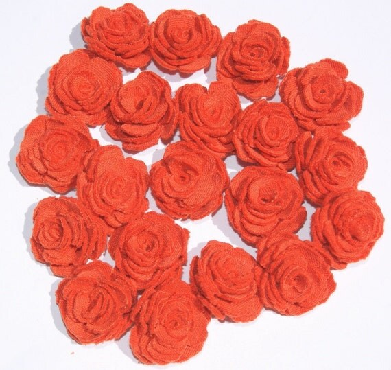 Orange Fabric Flowers Roses Appliques Set of 20 Upcycled Embellishments Handmade Fabric Flowers for Head Bands Scrapbooking