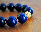 Round Navy Bead Bracelet