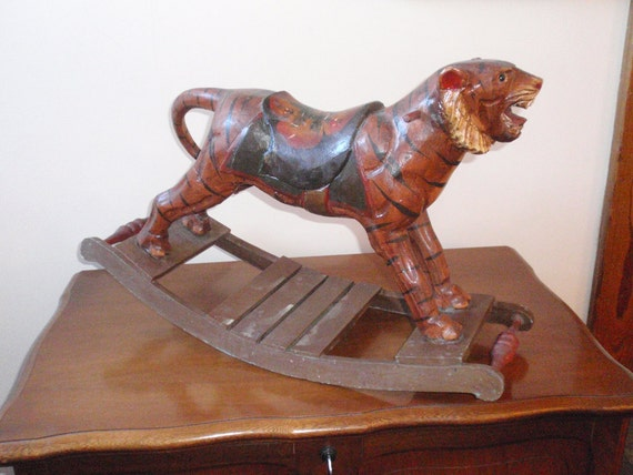 RESERVED FOR  AEVERTS  Antique Beautifully Hand Painted Wood Rocking Tiger