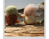 Hand Needle Felted Wedding Cake Topper - Love Birds ( made to order)