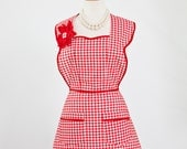 Red & White Apron in Full Retro Gingham Check