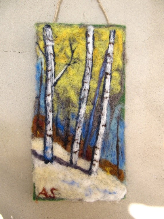 Needle Felted Wall Hanging Tapestry Winter Birches By