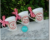 Christmas Decorations Ceramic Holiday Coffee Mugs personalized with your initial 4 Mug Set