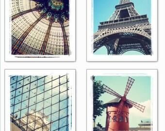 Paris Photos - Photography Set of 4 prints in retro style - Eiffel tower, Lourvre, Galeries Lafayette