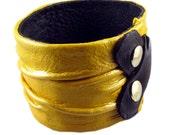 Yellow leather bicep bracelet