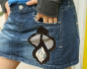SALE Denim Pixie Patch Skirt (OOAK)