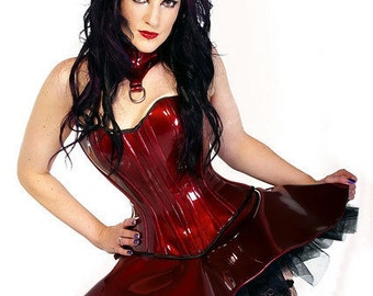 Couture Red Vinyl Corset, Tutu and Posture Collar - Absolute Devotion