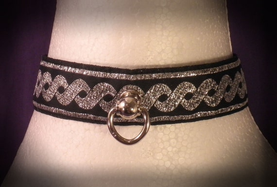 Classic Black/ Silver Brocade Lace Up Slave Collar - Absolute Devotion