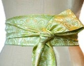 Wedding sash obi belt green engagement asian brocade