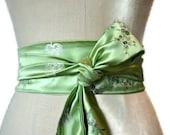 Spring Green Obi belt waist cincher asian brocade fabric sash  engagement party