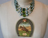 vintage 3 strand necklace blue green pearl statement costume jewelry Kentucky Derby