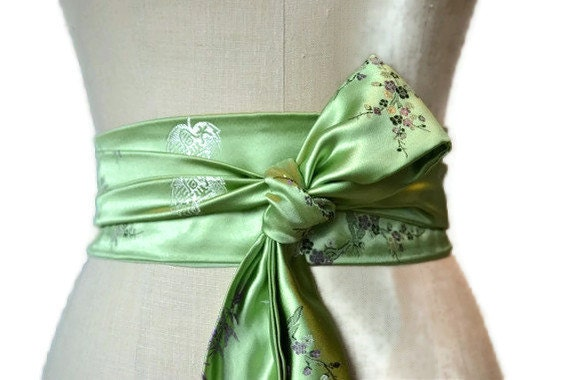 Spring Green Obi belt waist cincher asian brocade fabric sash  engagement party