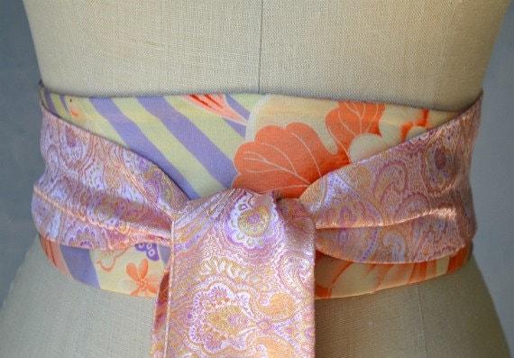 Rare Obi sash reversible belt orange lilac pink ivory wedding sash hand painted silk  floral asian waist cincher