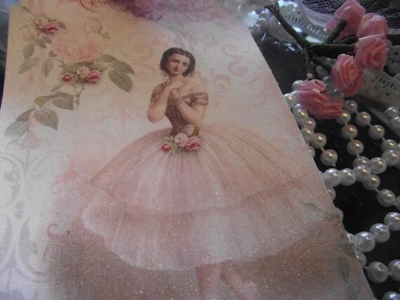 E  -  1        Ballerina  Gift  Tags //Hang  Tags   Pastel  Pink  Shabby  Chic   Ribbon