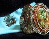 Aruba Art Piece Cuff bracelet by Lynn Parpard / sterling Silver Clasp/ Turquoise