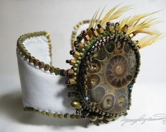 Ammonite Dream Art Piece Bracelet / Cuff created by Lynn Parpard Of A Kind Art Piece