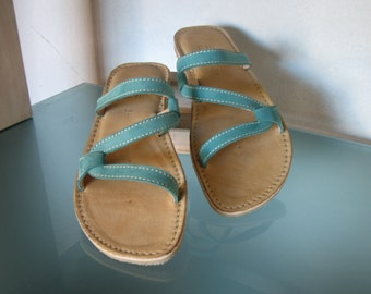 Handmade Turquoise Summer Sandal for Women - Leather - Open Toe - Sushi style