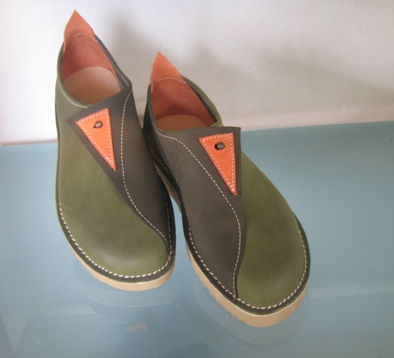 Womens Leather Shoes - Comfort  Walking Olive Green - Rom style