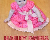 Hailey Dress  for babies newborn - 24M PDF Pattern & Instruction - Puffy Sleeves- twirly skirt- Ruffles bottom -dress length options