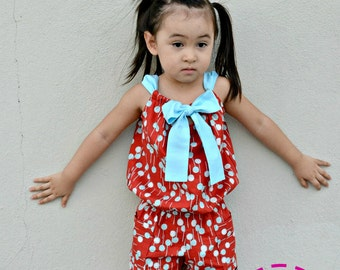 Johannah Romper for Girls 12M-10Y PDF Pattern & Instructions-Easy sew-Comfortable and convenient to wear-Great for summer/spring