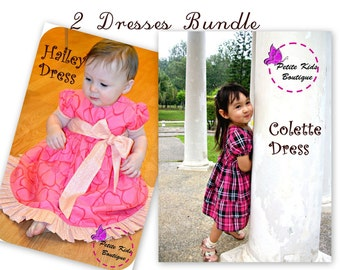 Bundle Pack - Hailey Dress & Colette Dress PDF Pattern and Instruction- Newborn-6Y- Sleeves option-big bow-ruffles-Occasion dress