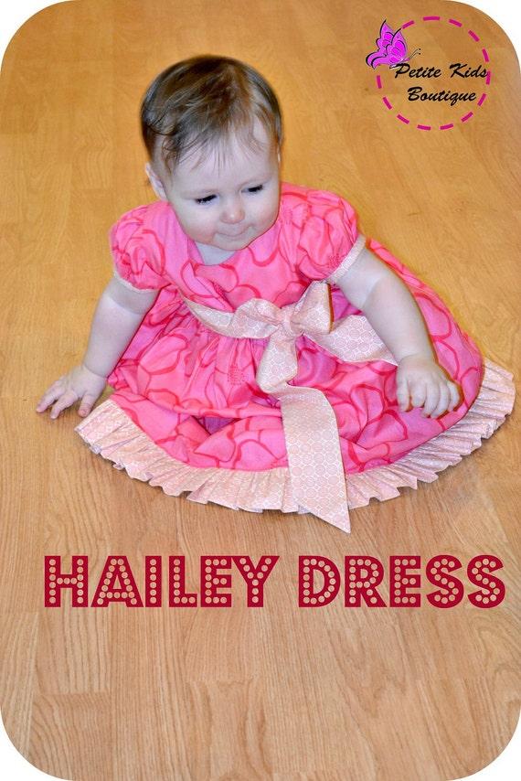 Hailey Dress  for babies newborn - 24M PDF Pattern & Instruction - Puffy Sleeves- twirly skirt- Ruffles bottom -dress length options