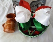 "Green, White, Red ""Viva Mexico"" Boutique Bow"