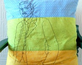 "Geeky Throw Pillow. Paul Dirac Portrait Cushion Cover. 21"" x 21"".  Scientist decoration"
