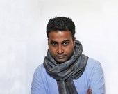 Men summer scarf blue beige cotton linen vegan friendly