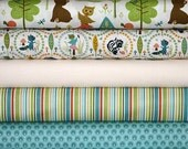Woodland Tails Cream Bear Fabric Bundle, Sheri McCulley Studios for Riley Blake, 5 Fat Quarters (1 and 1/4 yards)