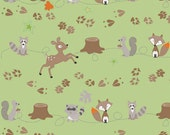 END OF BOLT Fox Trails Friends in Green, Doohikey Designs for Riley Blake, 17""