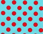Fat Quarter fabric for quilt or craft Michael Miller Quarter Dot in Aqua