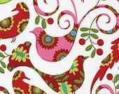 Pretty Bird in Santa, Christmas by Pillow & Maxfield, Michael Miller fabric, Fat Quarter