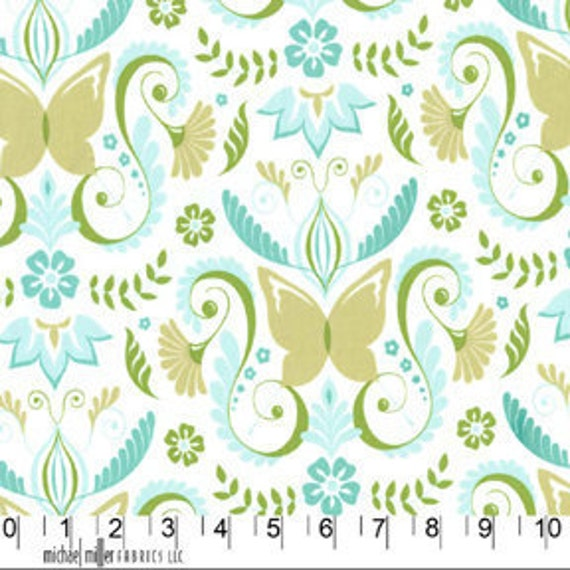 Michael Miller fabric for quilt or craft, Bella Butterfly by Patty Sloniger, Butterfly Damask in Aqua, 1 Fat Quarter