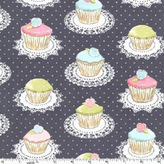 Quaint Cupcakes in Gray (Metallic), Michael Miller fabric, Fat Quarter