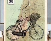 Old-fashion bicycle on the reprinted page from the Atlas of  Israel Maps from the Tanakh Period (597-538 b.c.) - HEBREW