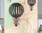 Vintage map-Old balloons flying over the reprinted map of ancient Israel (1250-1150 b.c.) - HEBREW -