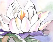 Water lily -Nature -White flower- Tenderness ORIGINAL Watercolor