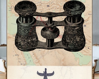 Vintage maps- Old-fashion binoculars on the reprinted map of ancient Persia - Vintage Book Page Art Reprint (hebrew)