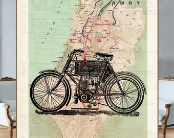 Old-fasion motorbike on the reprinted page from the Atlas of Maps of the Tanakh Period Israel (842-744 b.c.) - HEBREW
